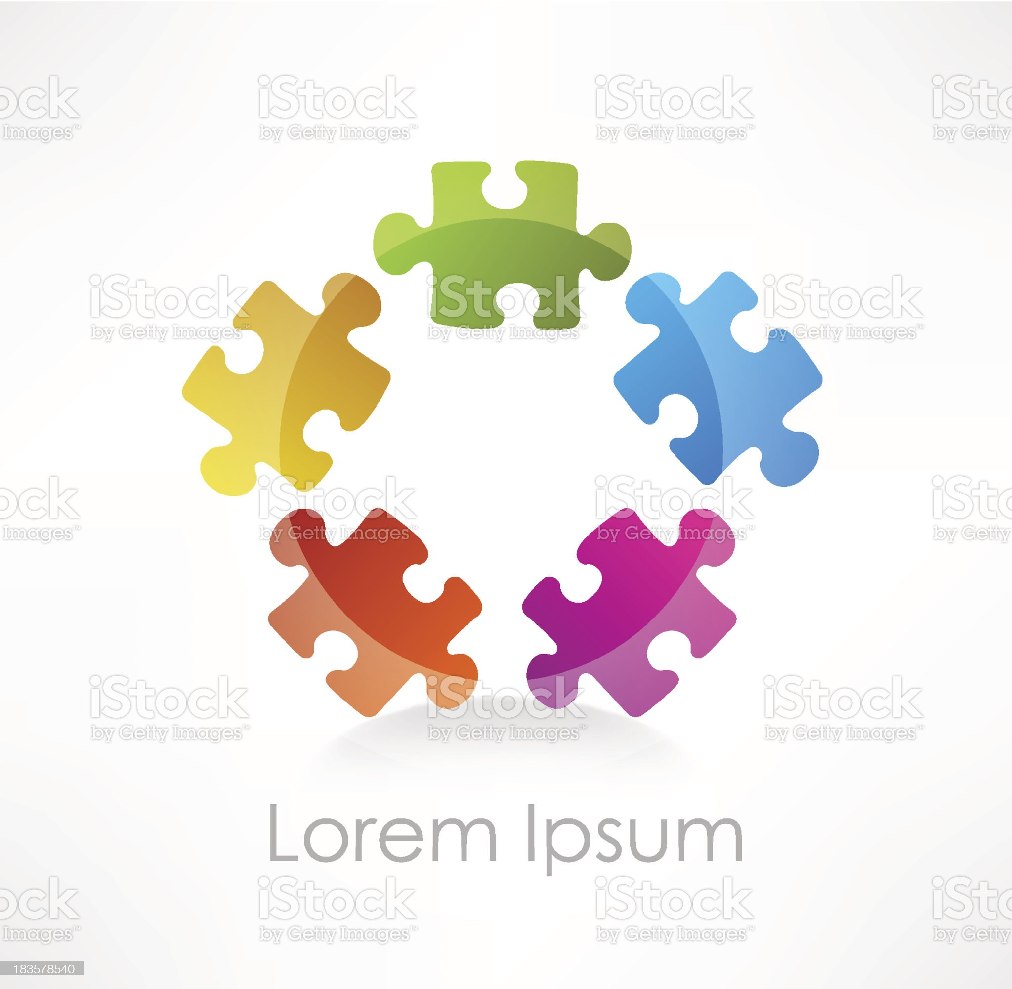 Colorful puzzle piece vector icon royalty-free stock vector art