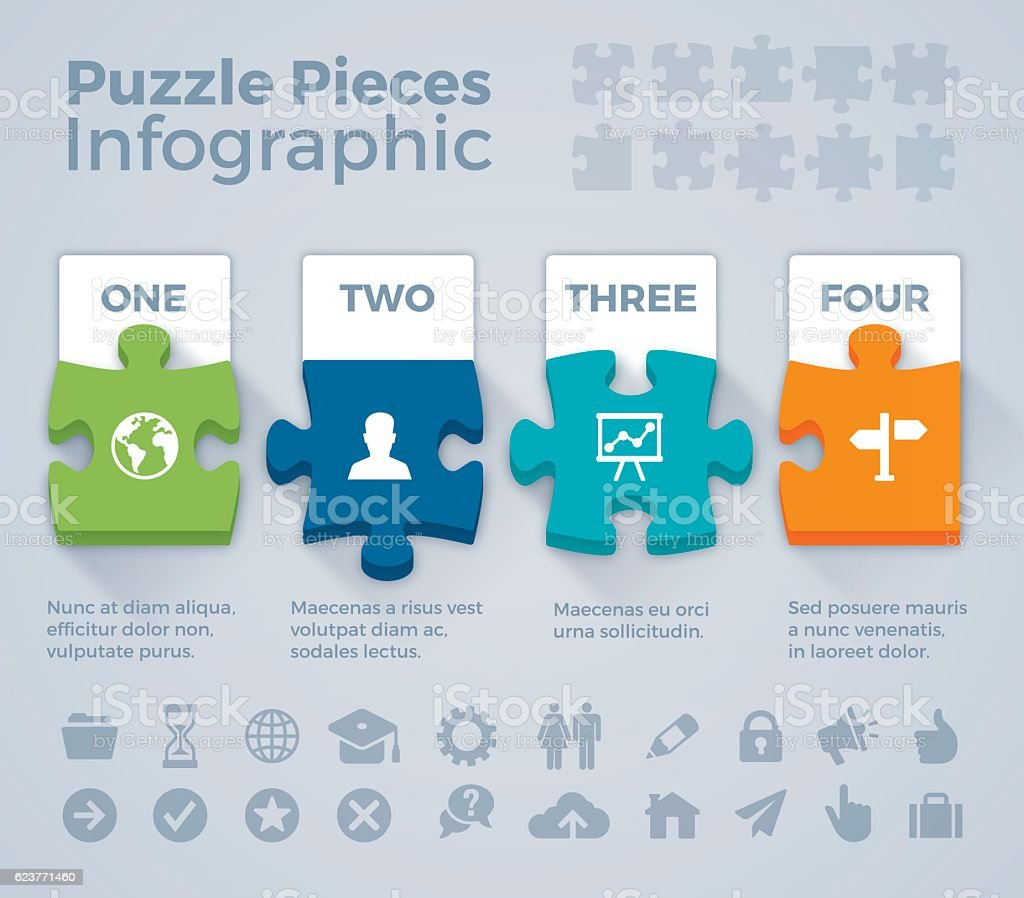Colorful Puzzle Pieces Infographic vector art illustration