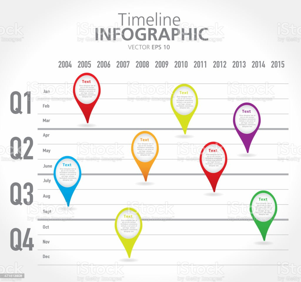 Colorful quarterly Timeline infographic with graph comparison vector art illustration