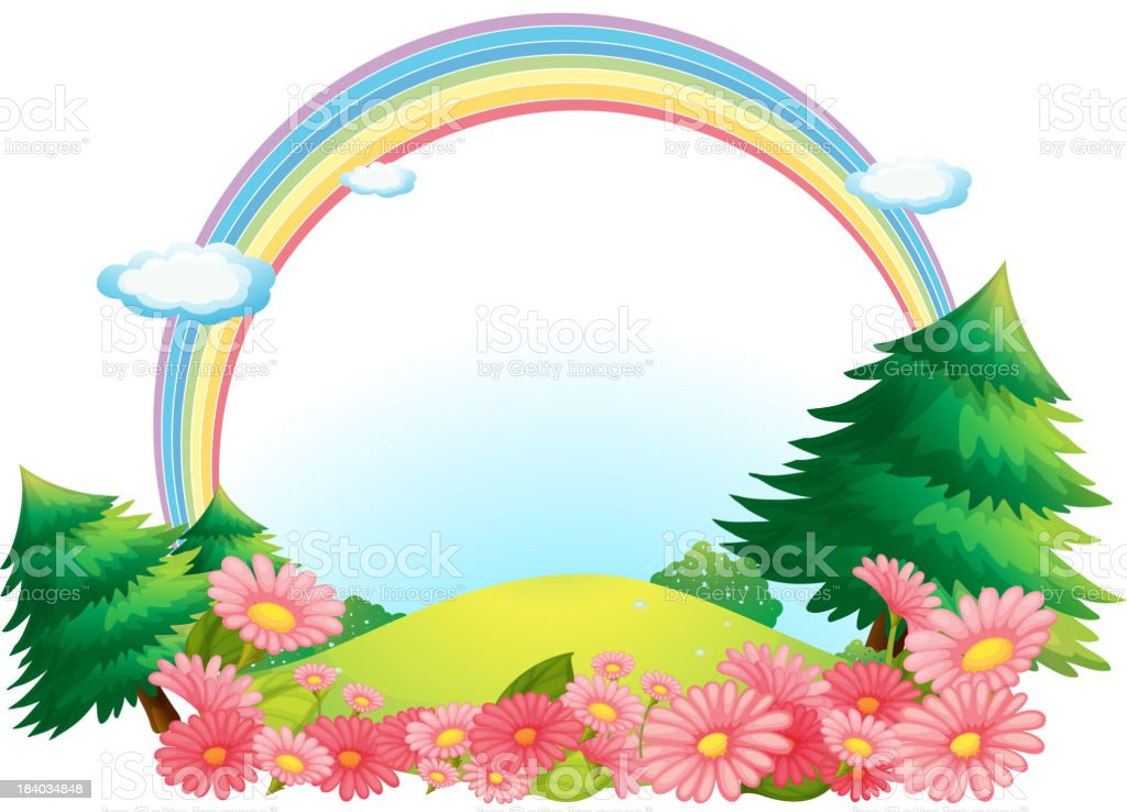 colorful rainbow at the hilltop royalty-free stock vector art