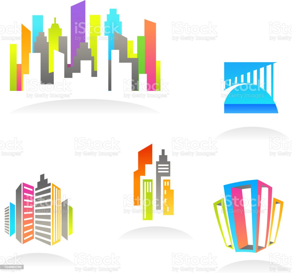 Colorful real estate backgrounds vector art illustration