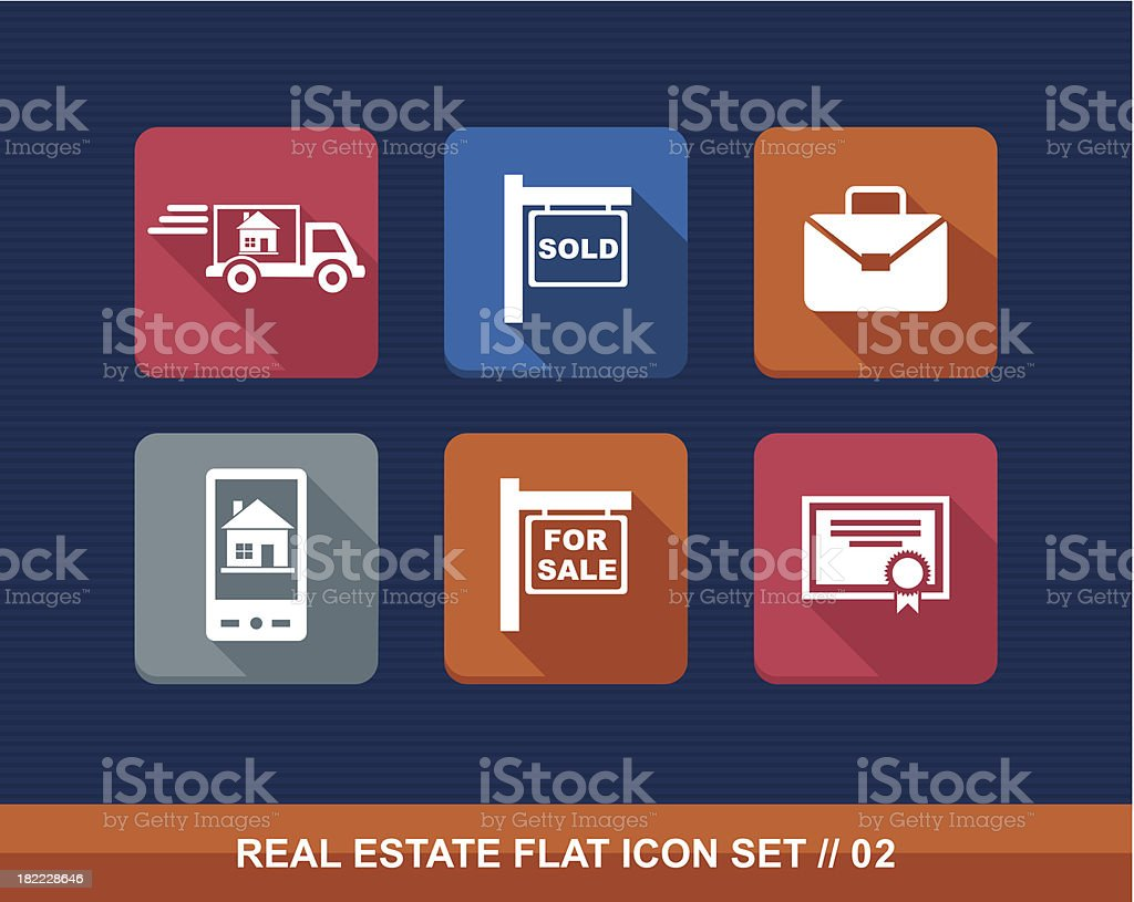 Colorful real estate business elements flat icon set EPS10 file. royalty-free stock vector art