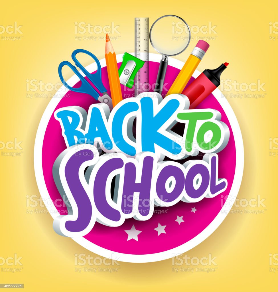 Colorful Realistic 3D Back to School Title Texts vector art illustration