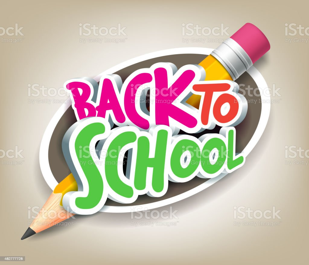 Colorful Realistic 3D Back to School Title Texts with Pencil vector art illustration