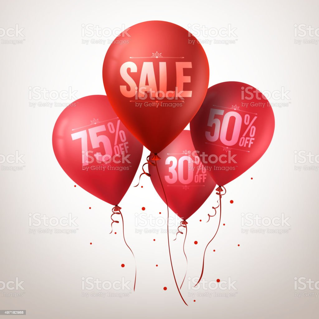 Colorful Red Sale Balloons Flying for Christmas Promotion vector art illustration