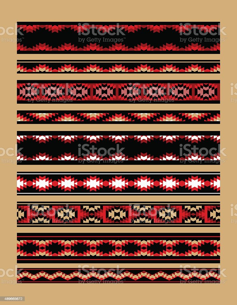 Colorful red white and black aztec ornaments geometric ethnic seamless vector art illustration