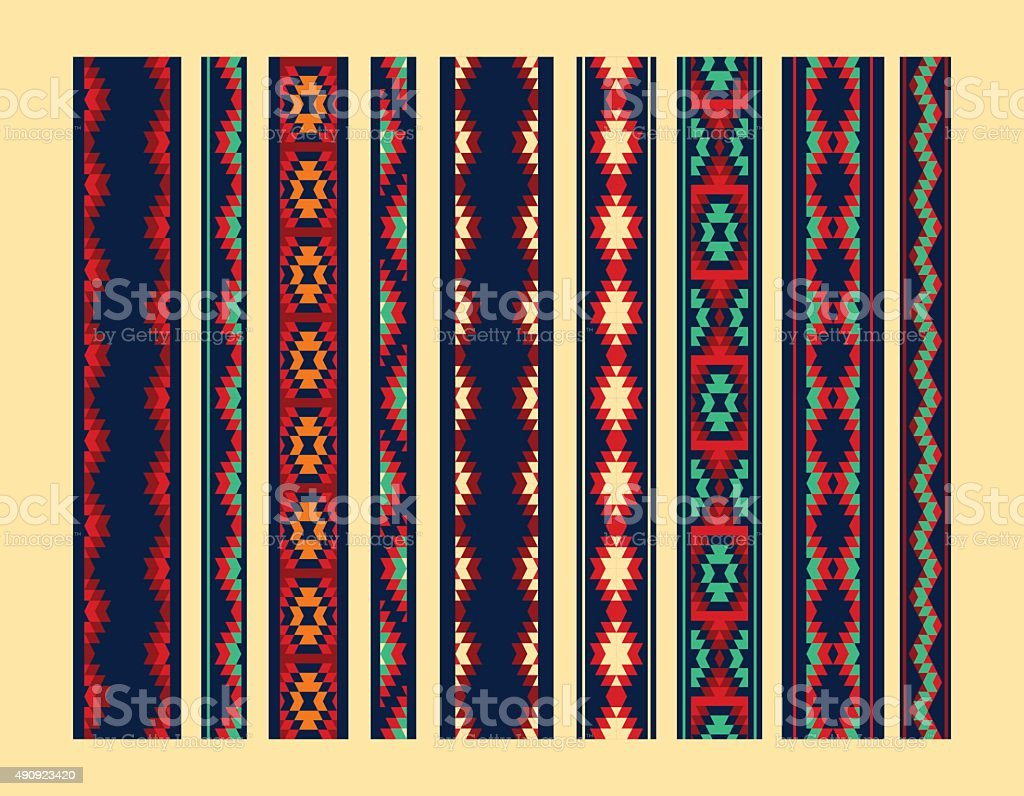 Colorful red yellow blue aztec ornaments geometric ethnic seamless borders vector art illustration