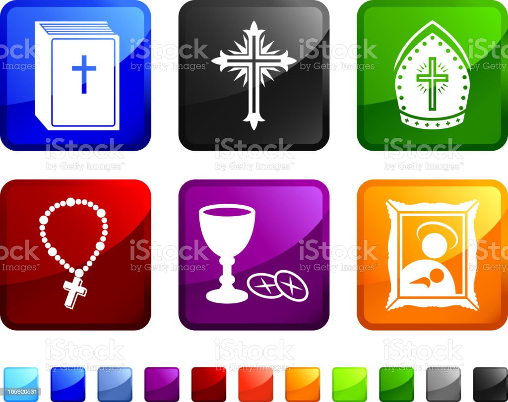 colorful religious computer stickers vector art illustration