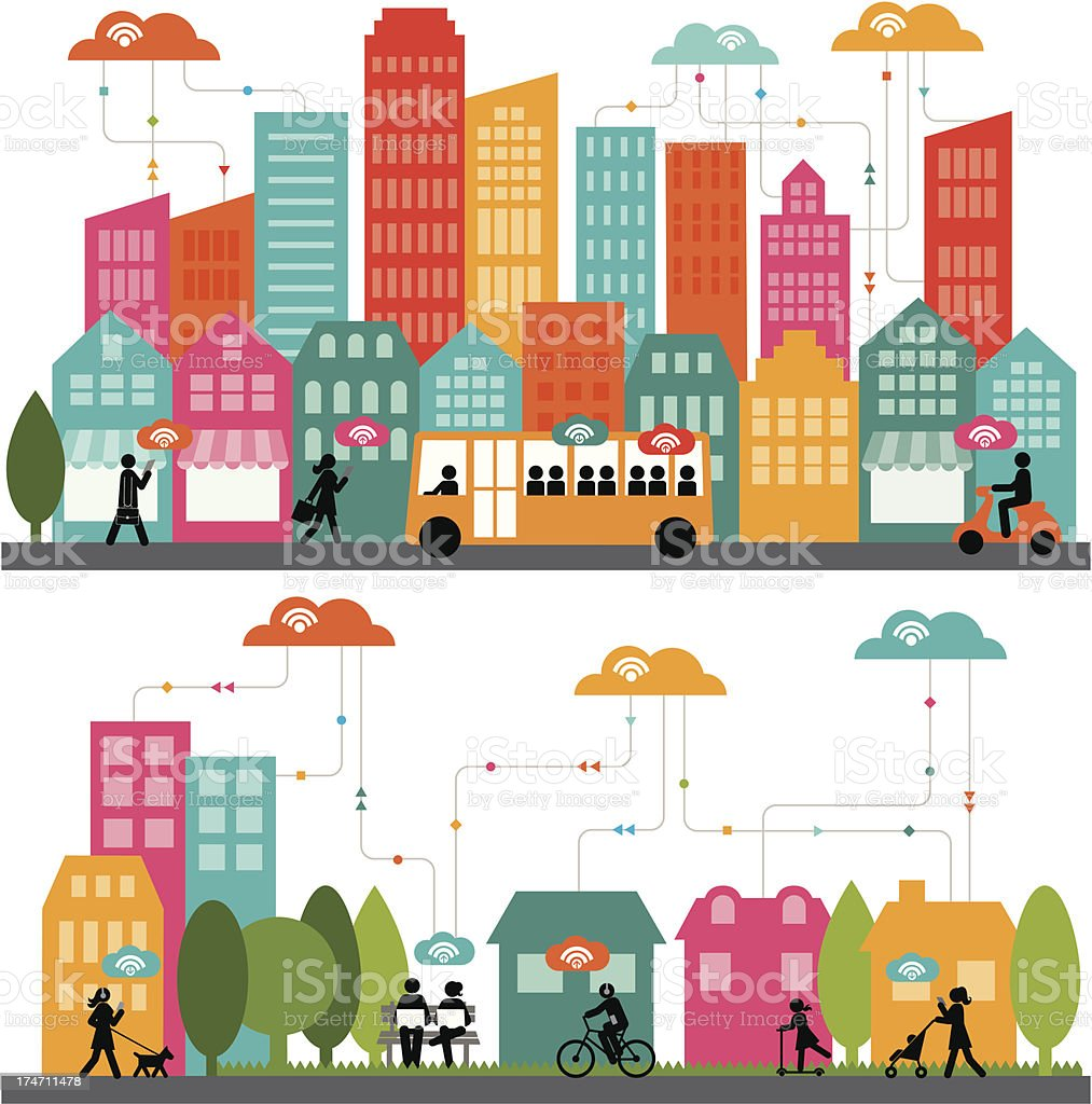 Dynamic Urban Network vector art illustration