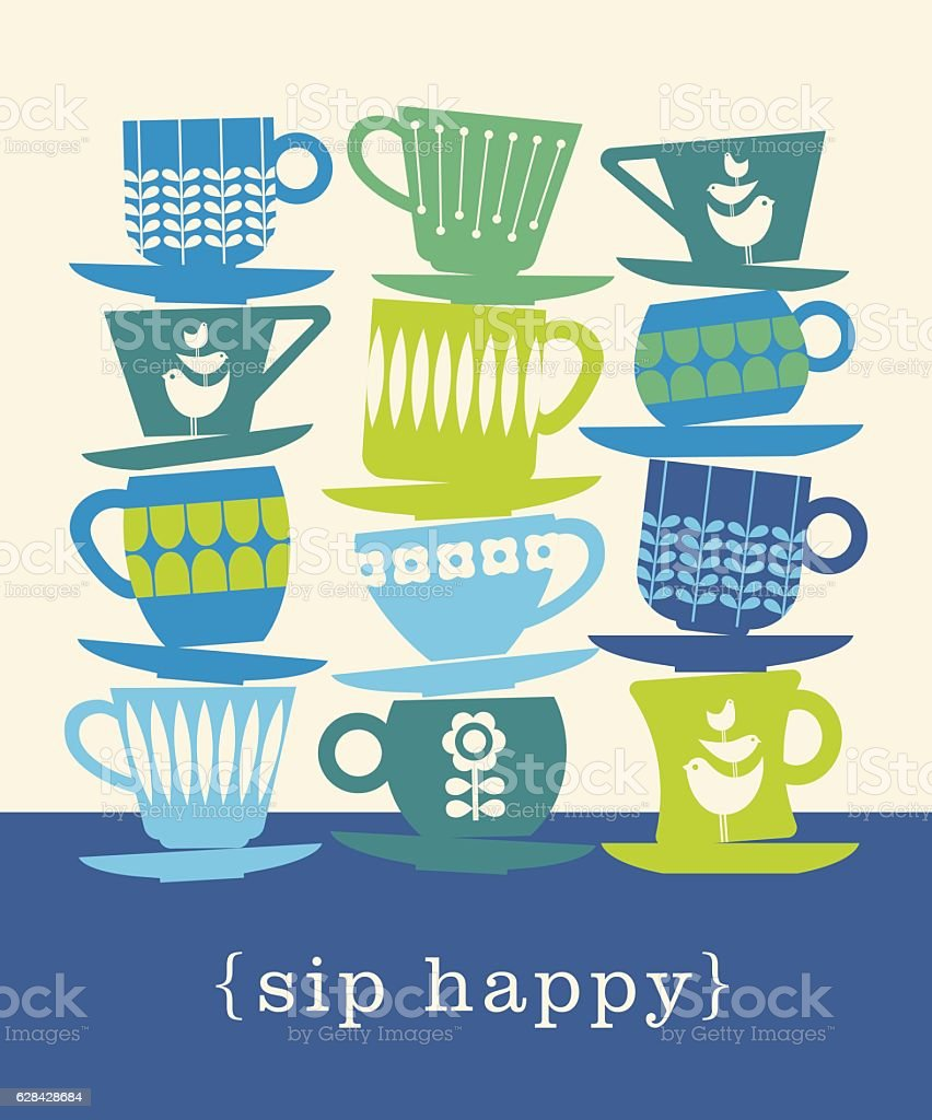 colorful retro illustration of stacks of tea cups. sip happy. vector art illustration