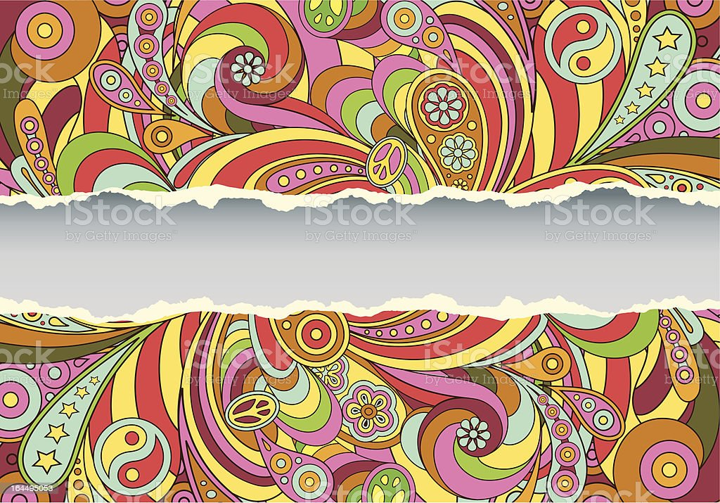 Colorful retro psychedelic illustrated background vector art illustration