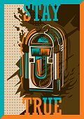 Colorful retro style poster with jukebox.