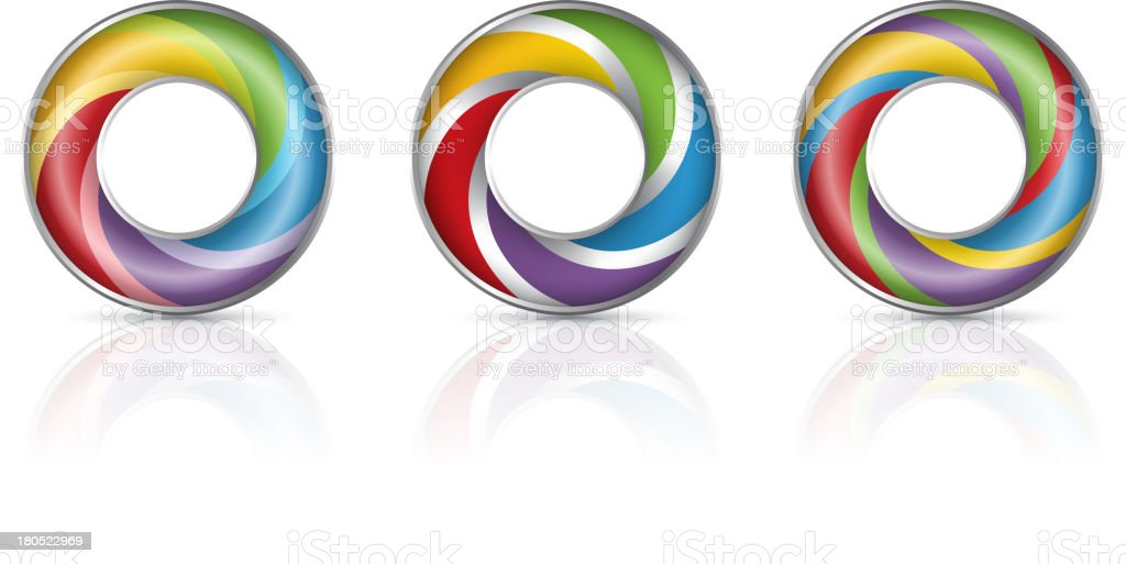 Colorful rings vector art illustration