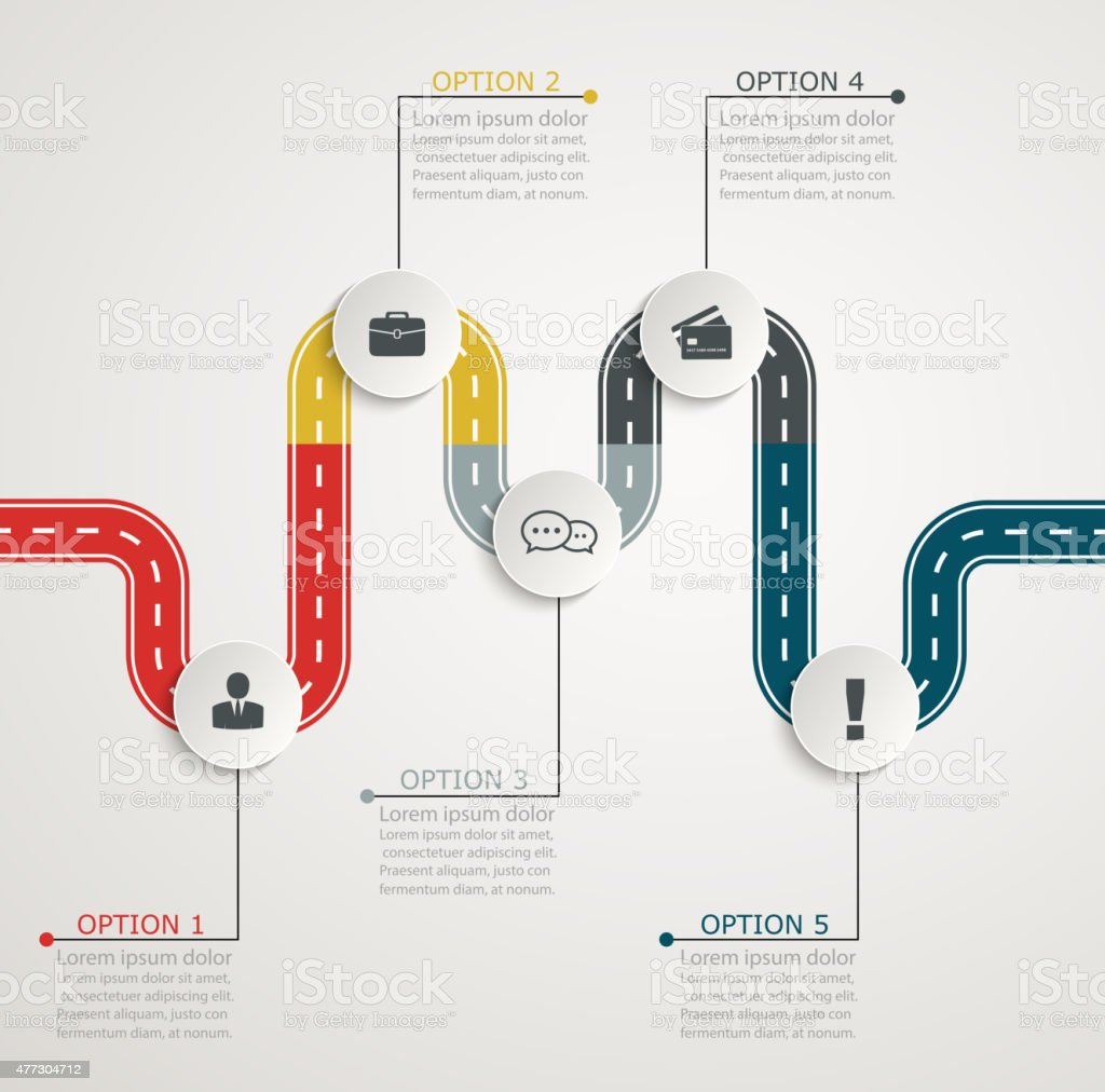 Colorful road infographic timeline with icons vector art illustration