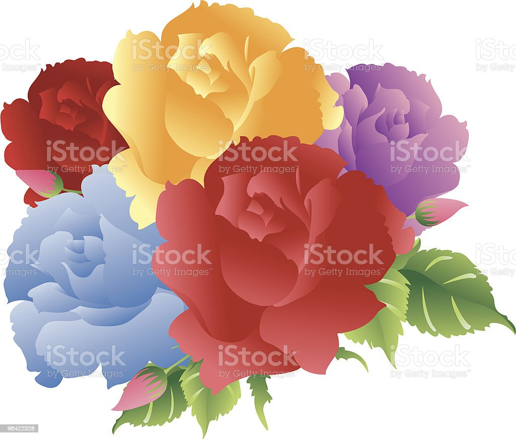 Colorful Roses bouquet royalty-free stock vector art