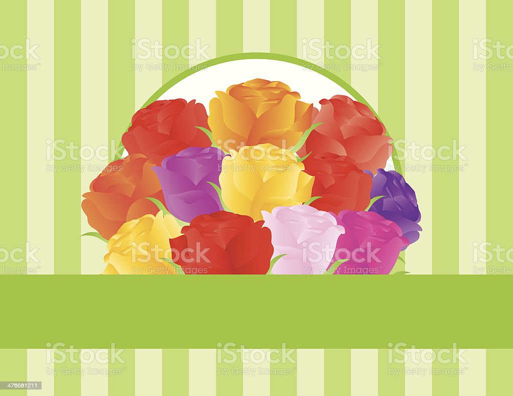 Colorful Roses Greeting Card Vector Illustration royalty-free stock vector art