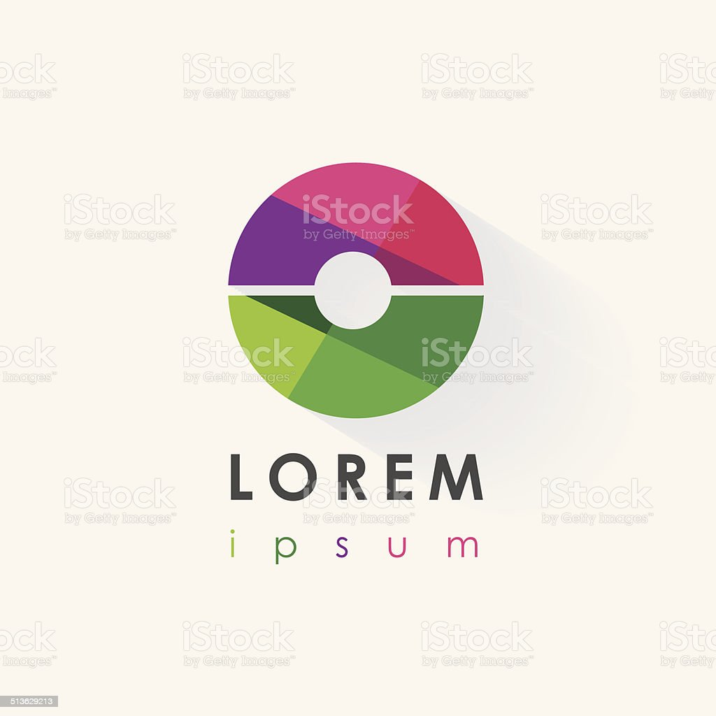colorful round abstract logo design element vector art illustration