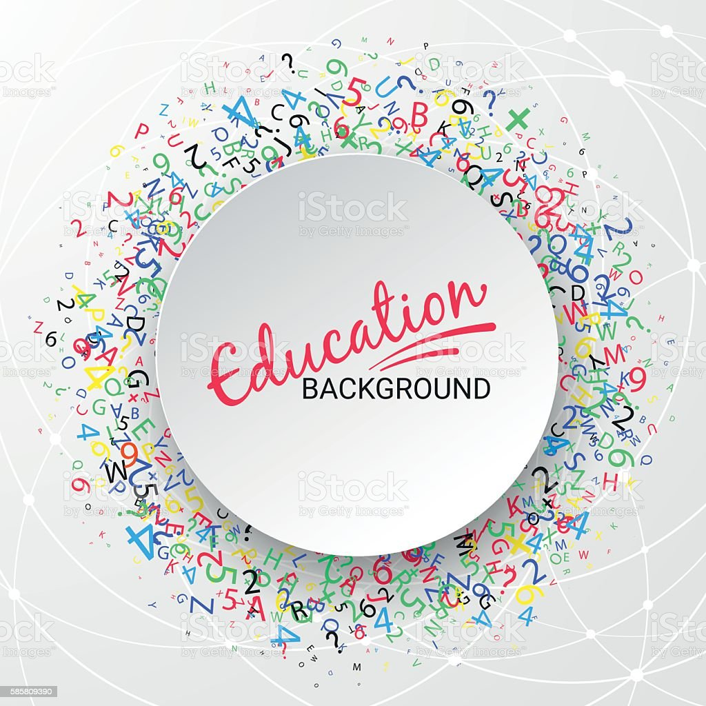 Colorful round banner. School, mathematics and education. vector art illustration