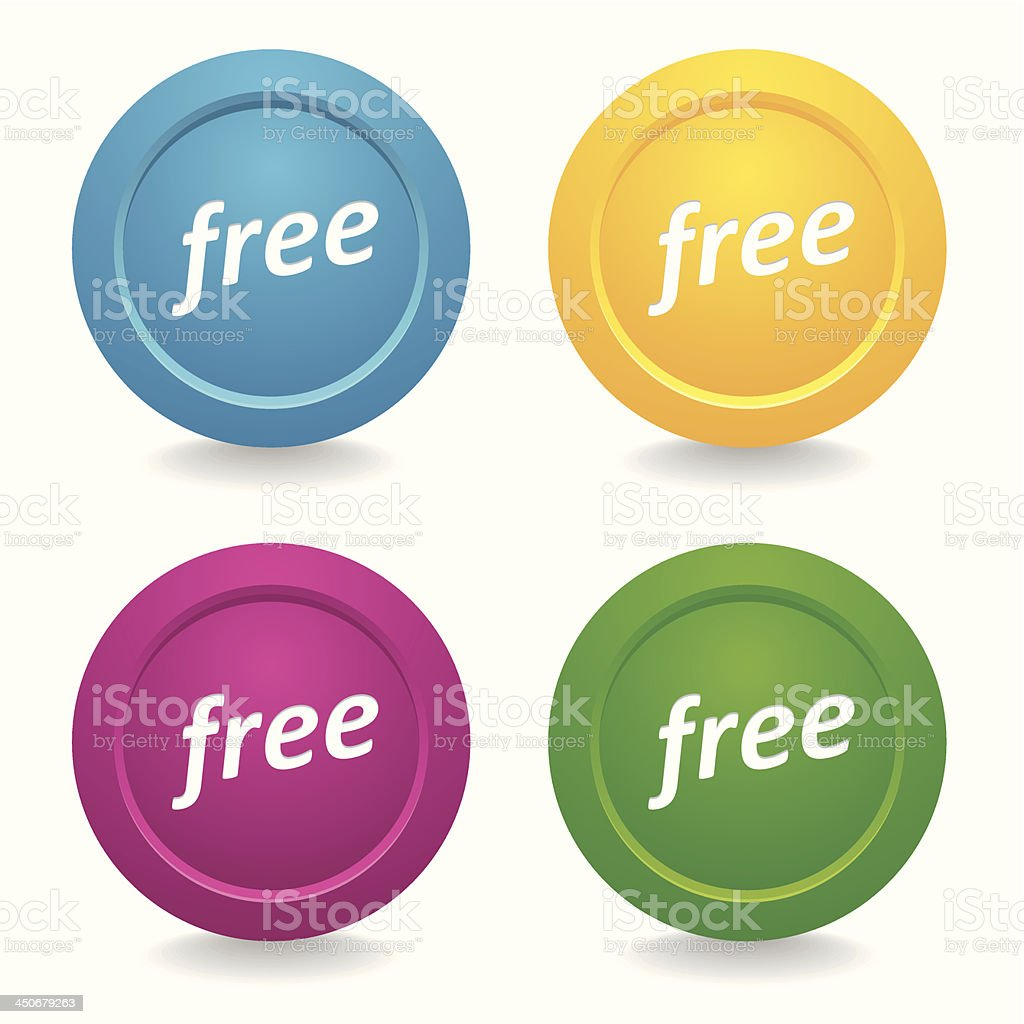 Colorful round button set royalty-free stock vector art