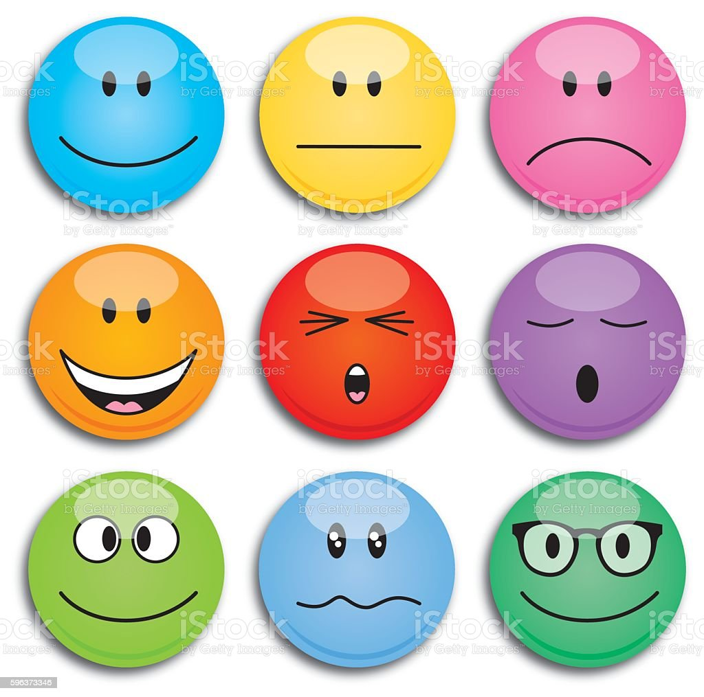 Colorful Round Emoji Faces vector art illustration