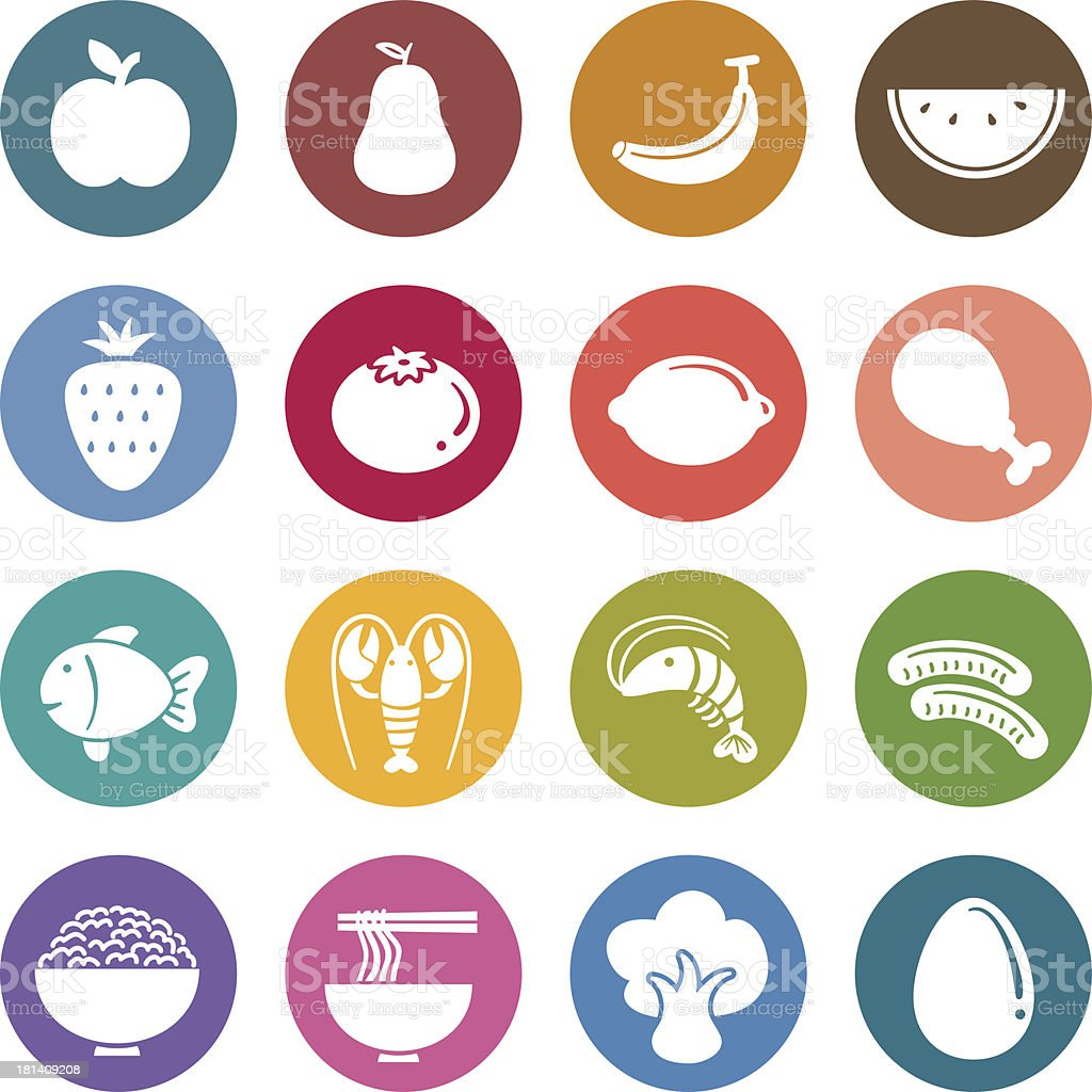 Colorful round icons - Fruits vector art illustration