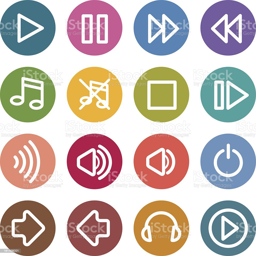 Colorful round icons - Multimedia royalty-free stock vector art