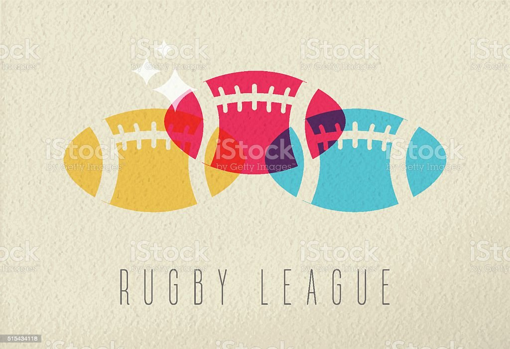 Colorful rugby ball sport concept background vector art illustration