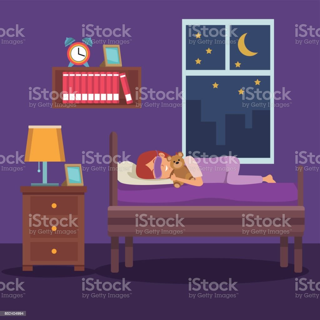 colorful scene girl sleep with mask and in bedroom vector art illustration