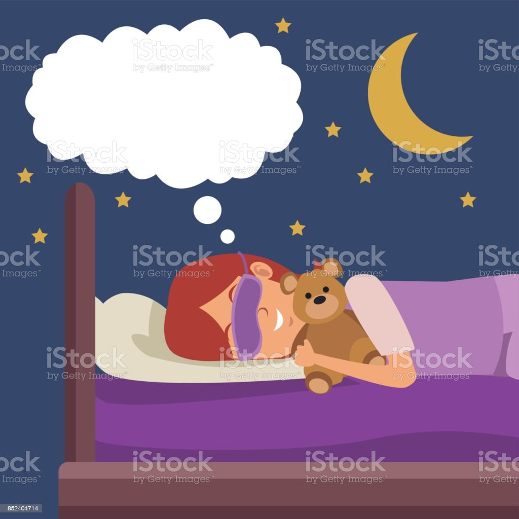 colorful scene girl with sleep mask dreaming in bed at night embraced a teddy bear vector art illustration