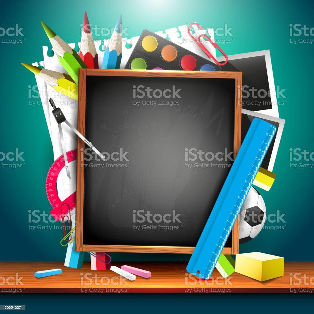 Colorful school background vector art illustration