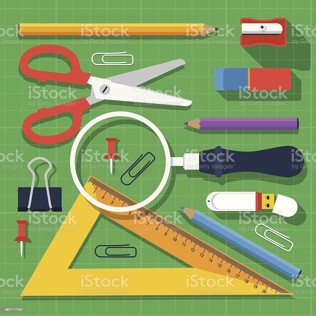 Colorful school supplies flat design vector art illustration