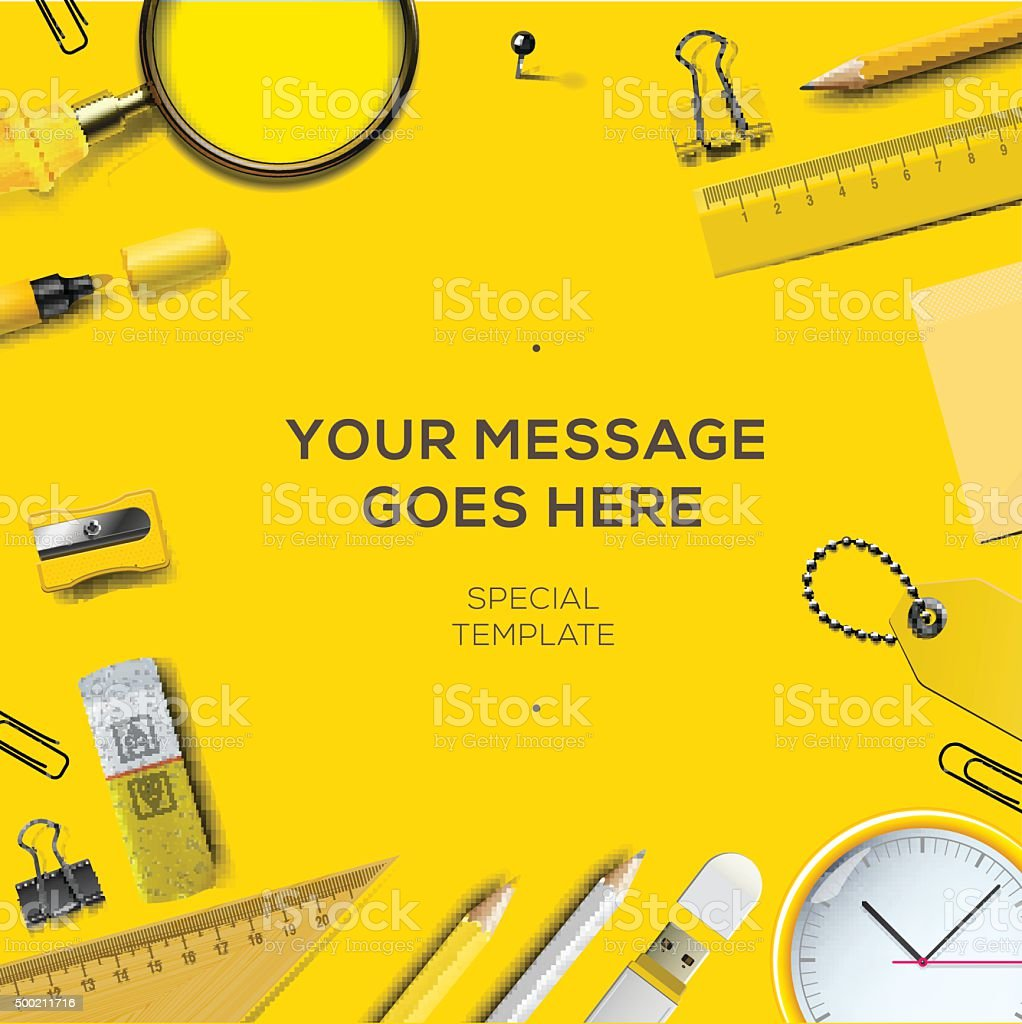 Colorful school supplies, yellow background vector art illustration