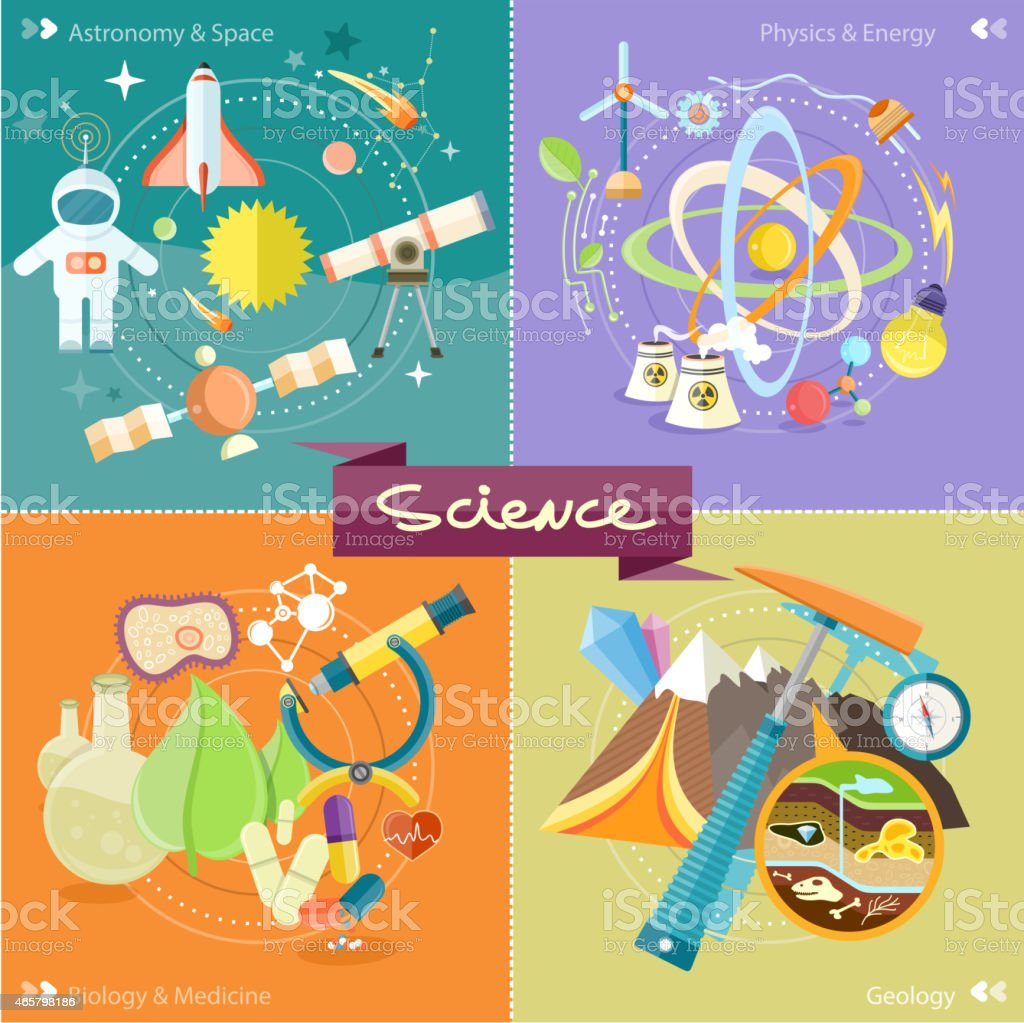 Colorful science poster showing different areas of study vector art illustration