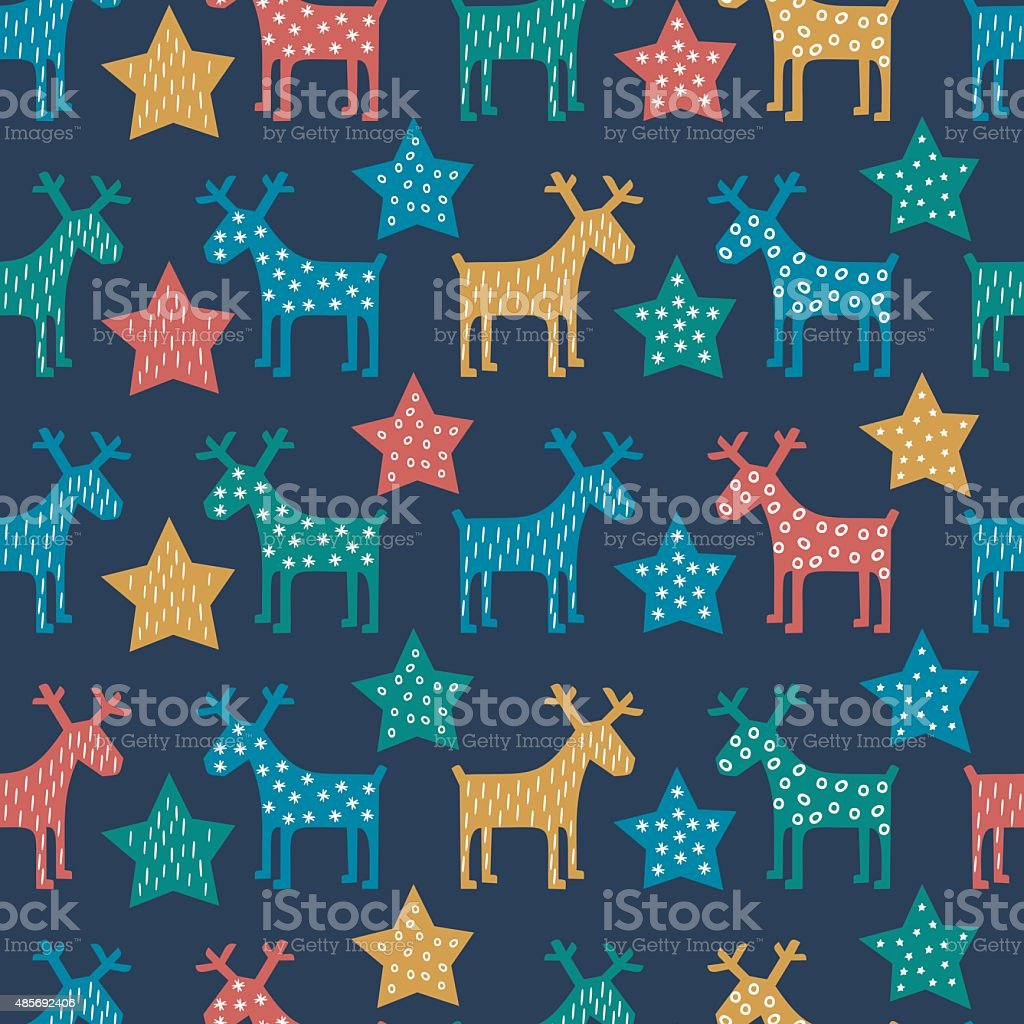 Colorful seamless Christmas pattern - reindeer and stars vector art illustration