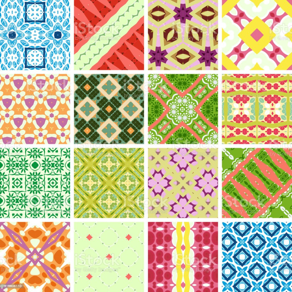 Colorful Seamless Pattern Collection vector art illustration