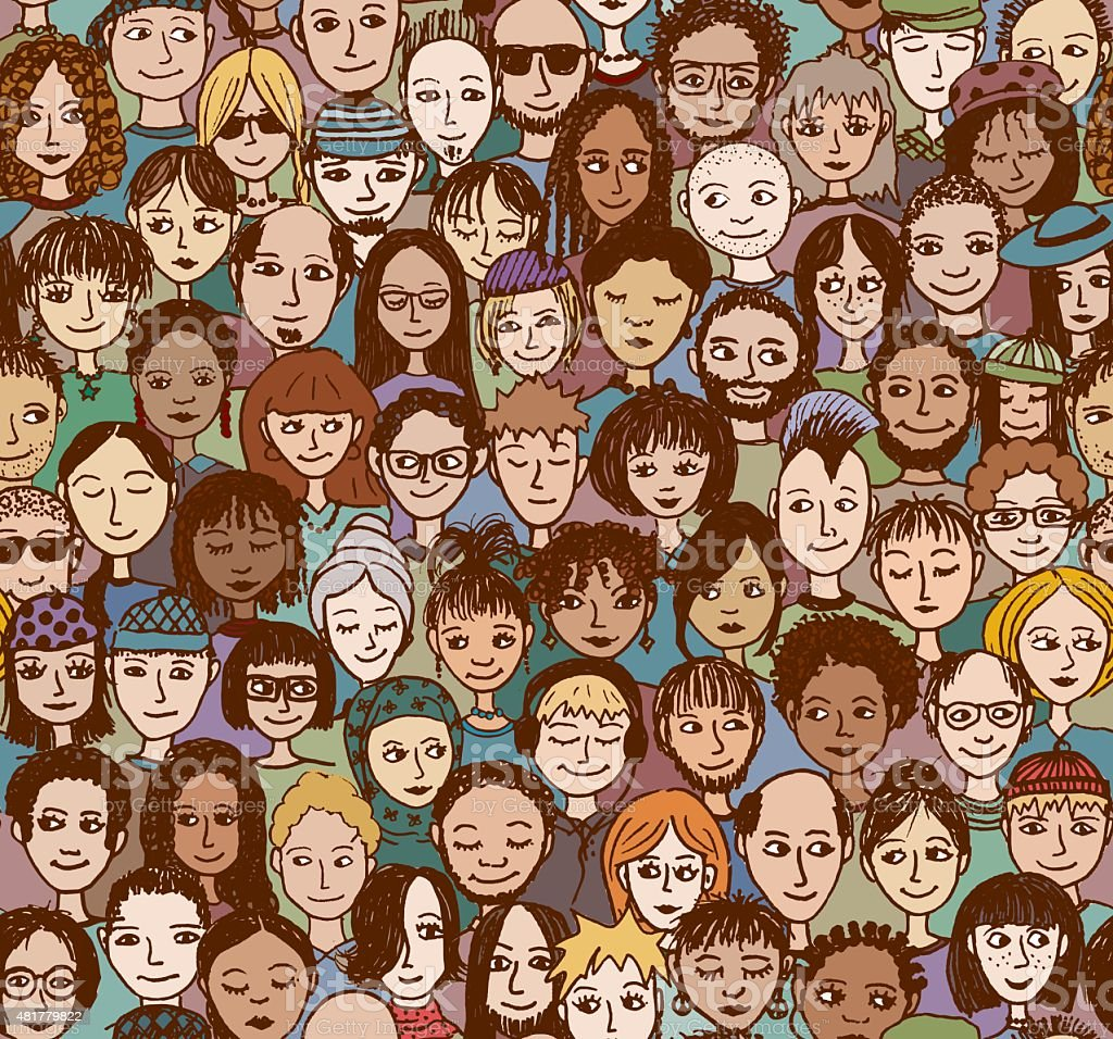 Colorful seamless pattern of a crowd of people, hand drawn vector art illustration
