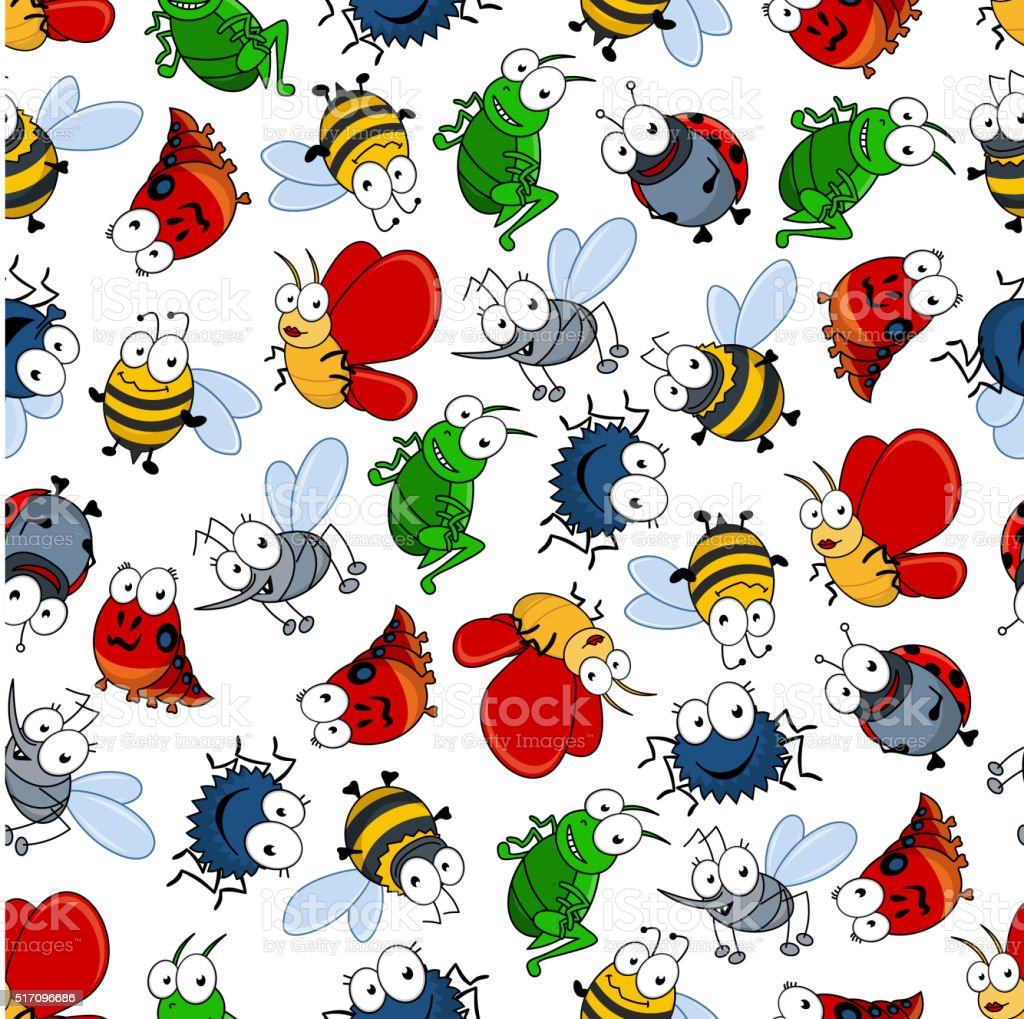 Colorful seamless pattern of insects vector art illustration