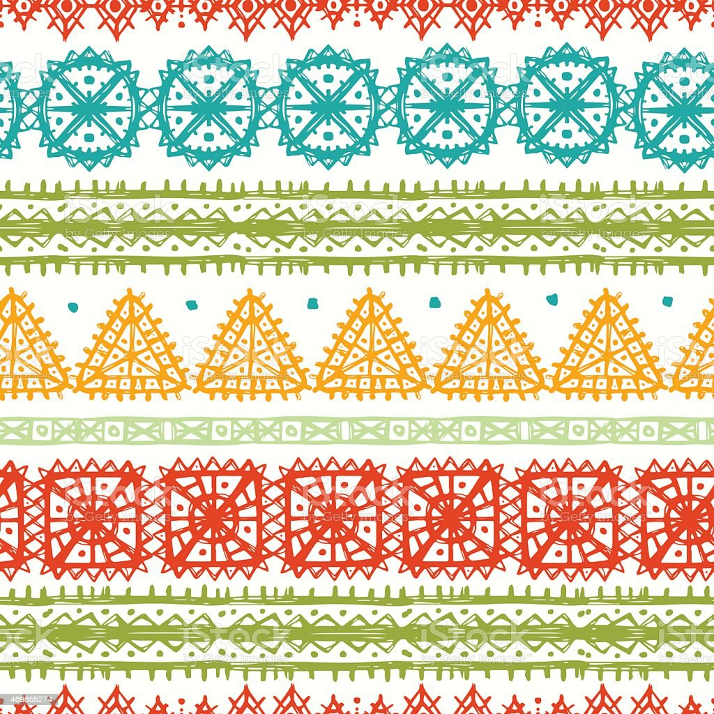 A colorful seamless pattern of tribal art vector art illustration