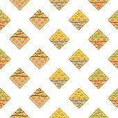 Colorful seamless pattern. Vanilla waffles with glaze and sprinkles.