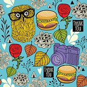 Colorful seamless pattern with hipster owls and food.