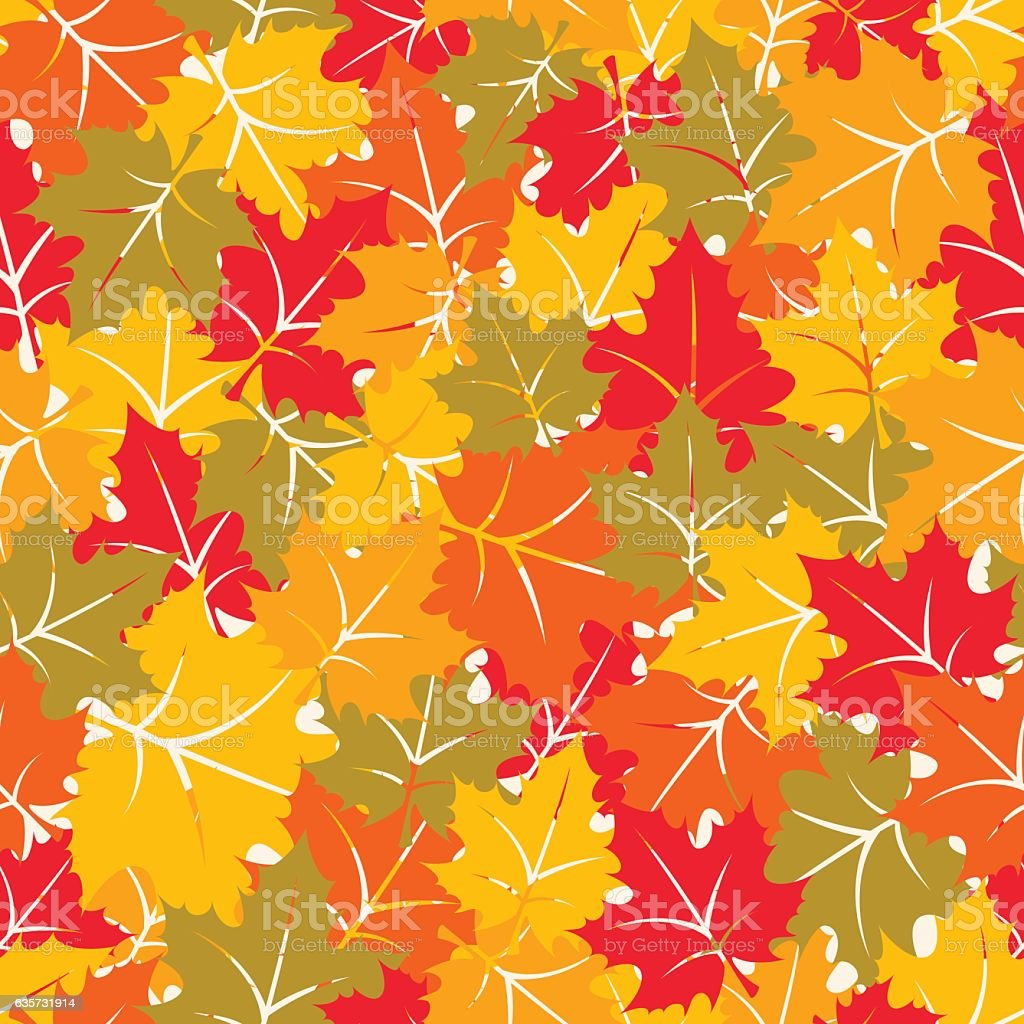 Colorful seamless pattern with maple leaves vector art illustration