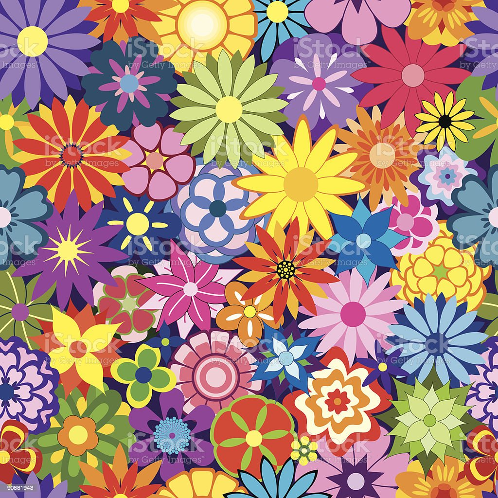 Colorful Seamless Repeating Flower Background royalty-free stock vector art