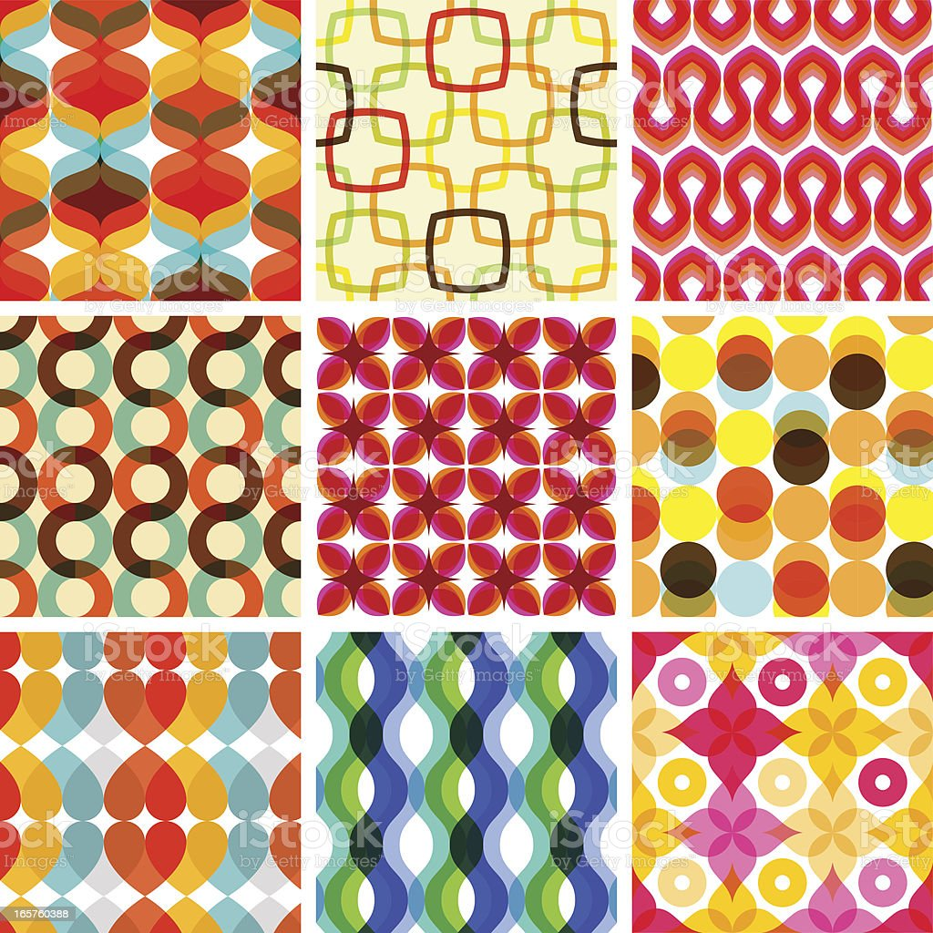 Colorful seamless retro geometric pattern - holiday royalty-free stock vector art