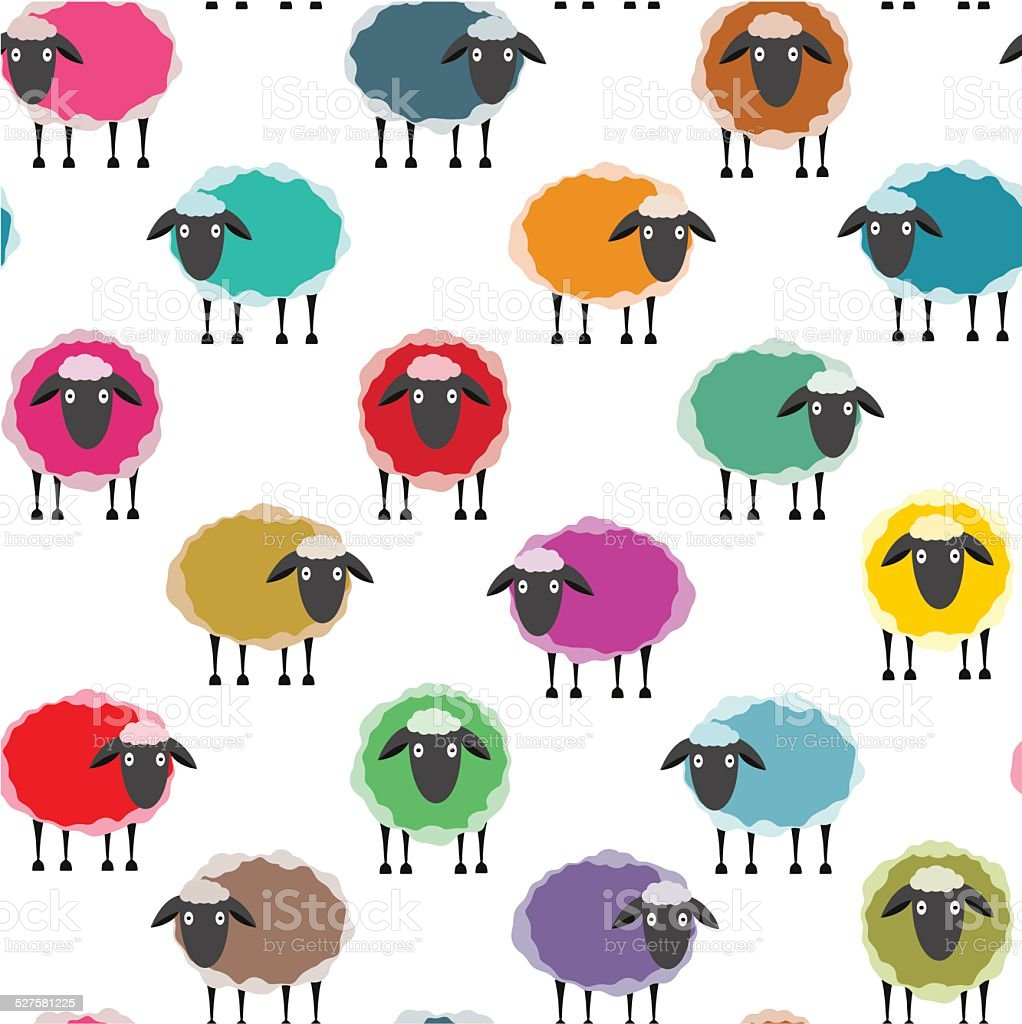 Colorful Seamless Sheep Pattern vector art illustration