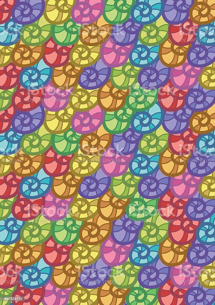 Colorful Seashells Pattern Abstract Vector Background vector art illustration