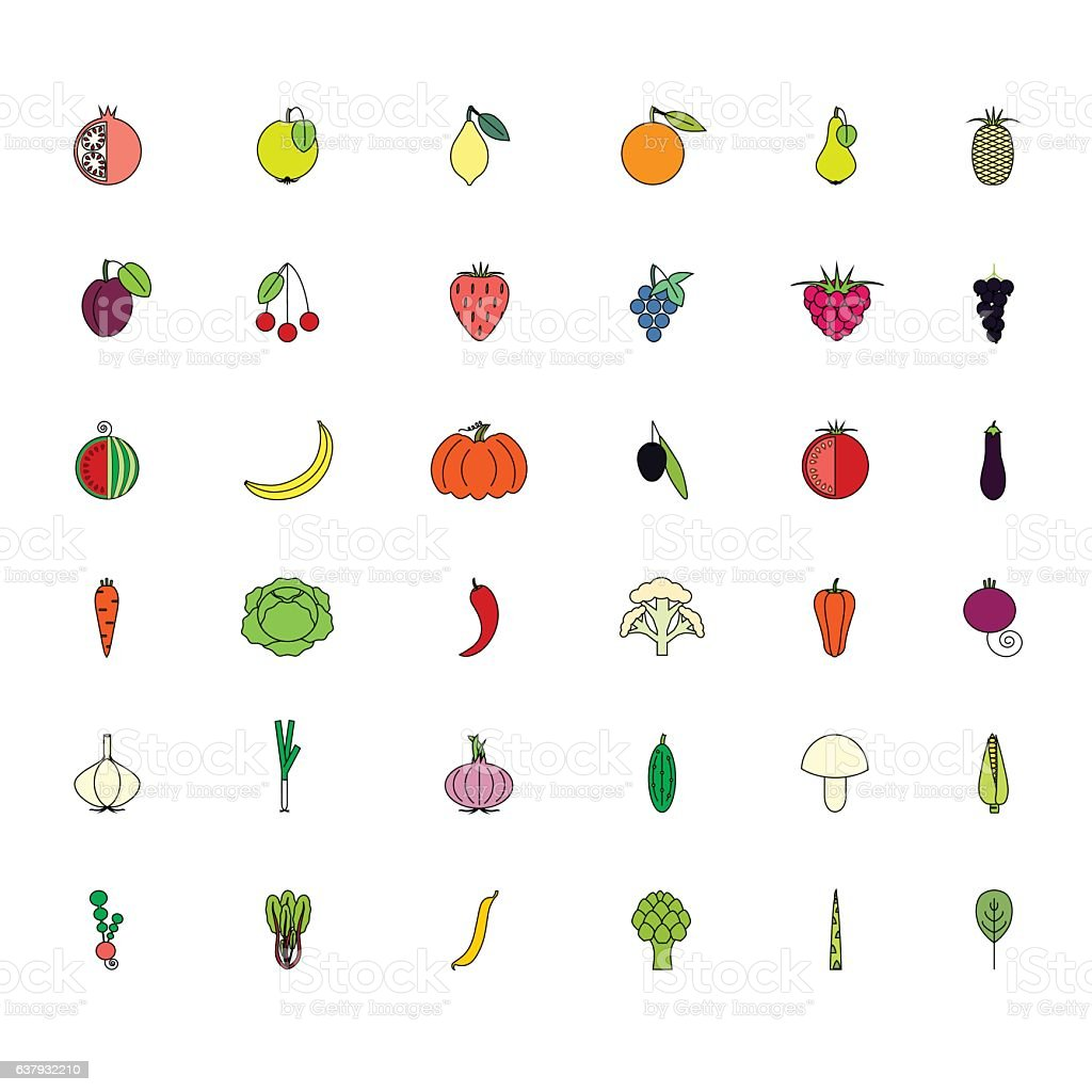 Colorful set fruits and vegatables icons on white vector art illustration