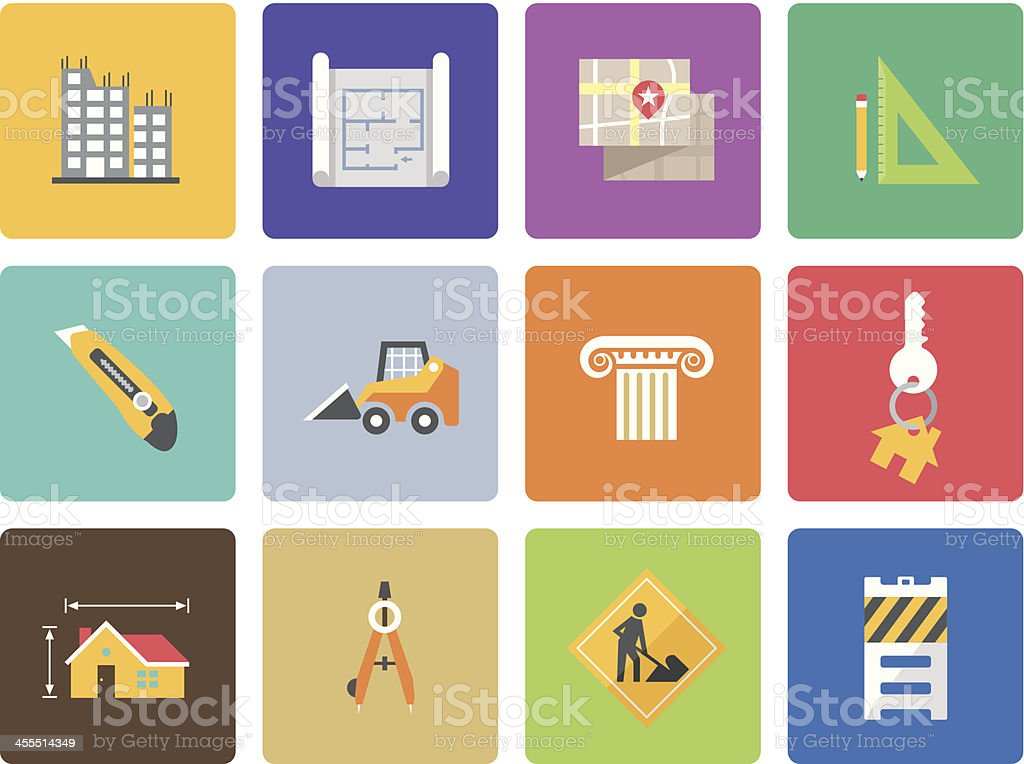 Colorful set of architecture icons royalty-free stock vector art