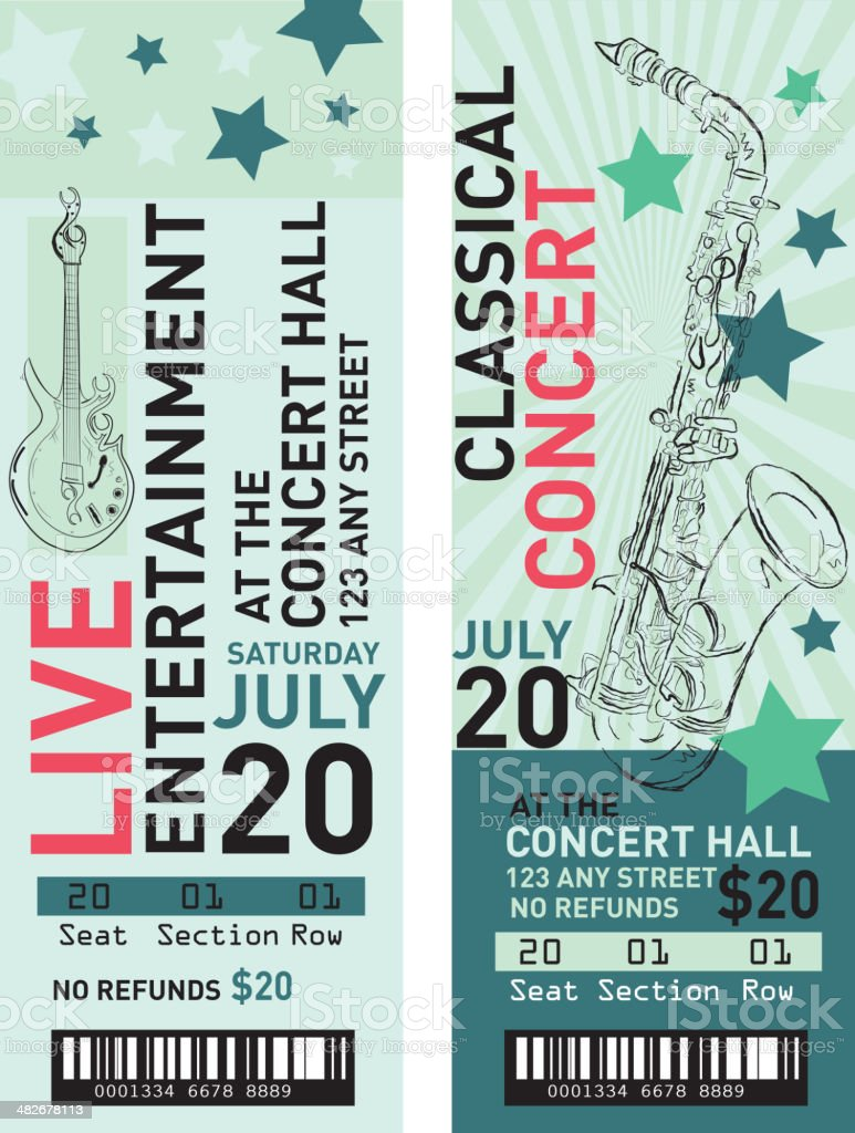 Colorful Set Of Concert Ticket Templates stock vector art – Concert Ticket Template Free