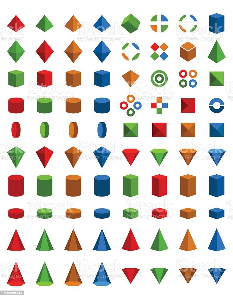 Colorful set of geometric shapes vector art illustration