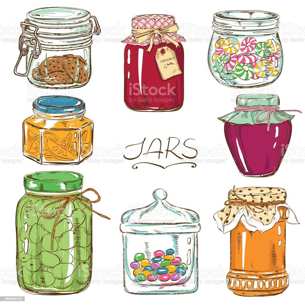 Colorful set of isolated mason jars vector art illustration